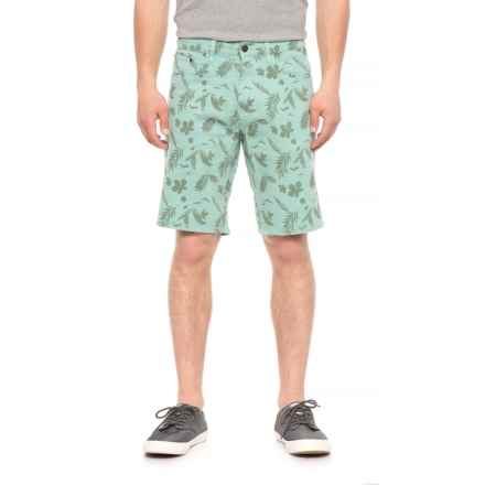 IZOD Printed Stretch Twill Shorts (For Men) in Turquoise/Leaf - Overstock