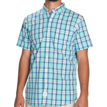 IZOD Saltwater Plaid Shirt - Short Sleeve (For Men) in Blue Radiance - Closeouts