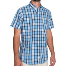 IZOD Saltwater Plaid Shirt - Short Sleeve (For Men) in Blue Revival - Closeouts