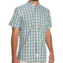 IZOD Saltwater Plaid Shirt - Short Sleeve (For Men) in Sea Crest - Closeouts