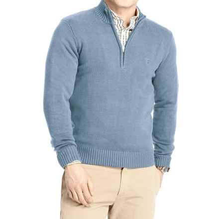 IZOD Solid Sweater - Zip Neck (For Men) in Colony Blue - Closeouts