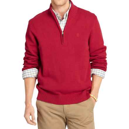 IZOD Solid Sweater - Zip Neck (For Men) in Jester Red - Closeouts