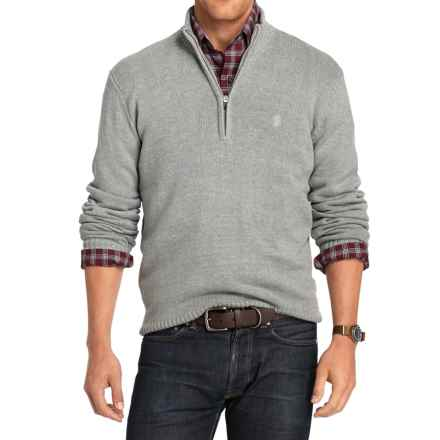IZOD Solid Sweater - Zip Neck (For Men) in Light Grey Heather - Closeouts