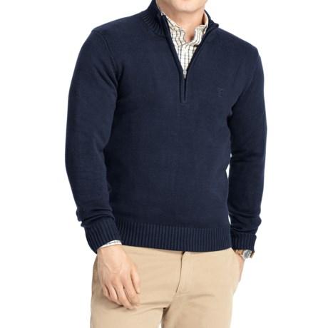 IZOD Solid Sweater - Zip Neck (For Men) in Midnight