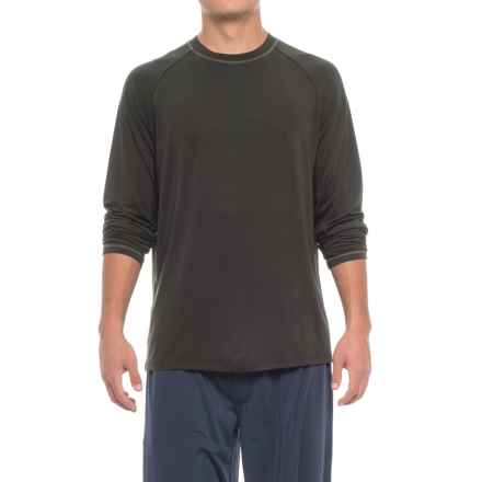 IZOD Sueded Jersey Lounge Shirt - Long Sleeve (For Men) in Black - Closeouts