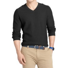 IZOD Textured Cotton Sweater - V-Neck (For Men) in Black - Closeouts