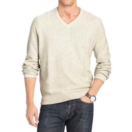 IZOD Textured Cotton Sweater - V-Neck (For Men) in Edfice Heather - Closeouts