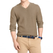 IZOD Textured Cotton Sweater - V-Neck (For Men) in Taupe Heather - Closeouts