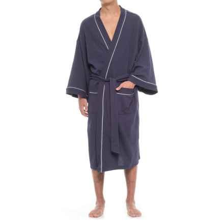 IZOD Waffle Kimono Robe (For Men) in Navy - Closeouts