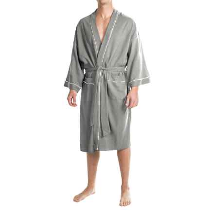 IZOD Waffled Kimono Robe - Long Sleeve (For Men and Women) in Grey Heather - Closeouts