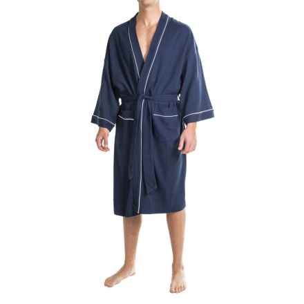 IZOD Waffled Kimono Robe - Long Sleeve (For Men and Women) in Navy - Closeouts