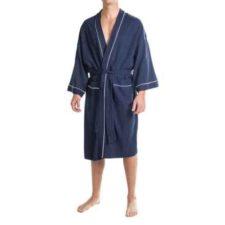IZOD Waffled Kimono Robe - Long Sleeve (For Men and Women) in Navy - Closeouts