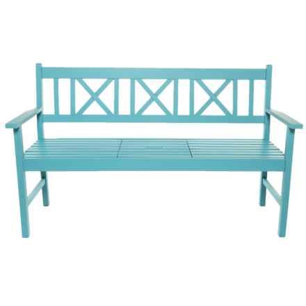 J Hunt Acacia Wood Fountain Blue Bench in Fountain Blue - Closeouts