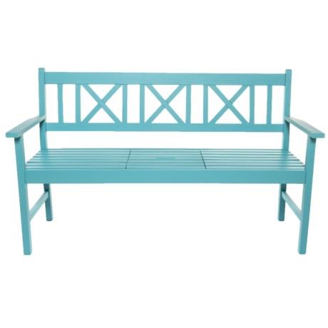 J Hunt Acacia Wood Fountain Blue Bench in Fountain Blue