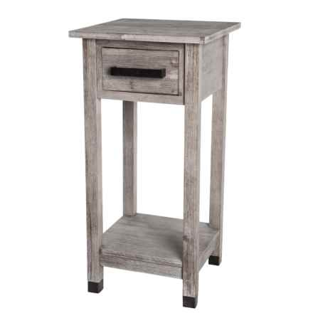 """J Hunt Gray Acacia Wood Side Table with Drawer - 14x14x28"""" in Medium Grey - Closeouts"""