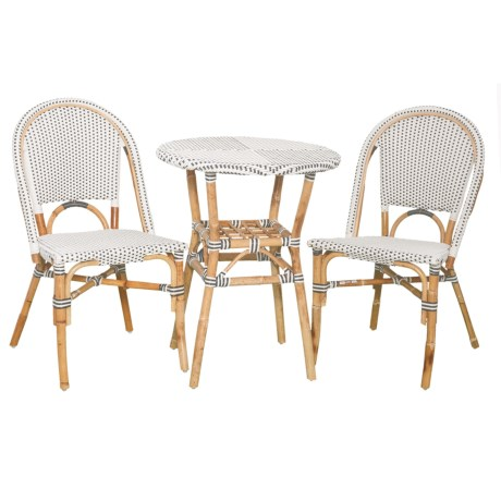 J Hunt Grey and White Bistro Set - 3-Piece in Grey/White