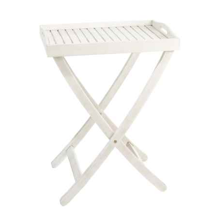 """J Hunt Grey-Washed Acacia Serving Tray Table with Handles - 22x15x28"""" in Grey - Closeouts"""