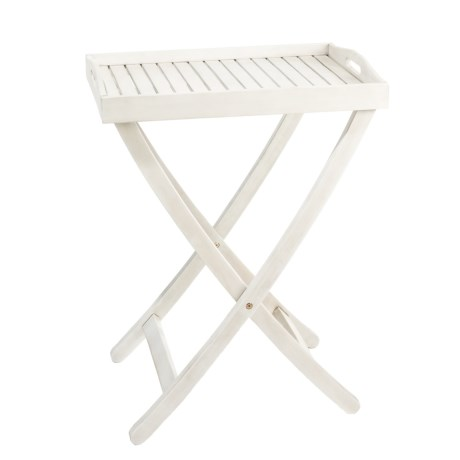 """J Hunt Grey-Washed Acacia Serving Tray Table with Handles - 22x15x28"""" in Grey"""