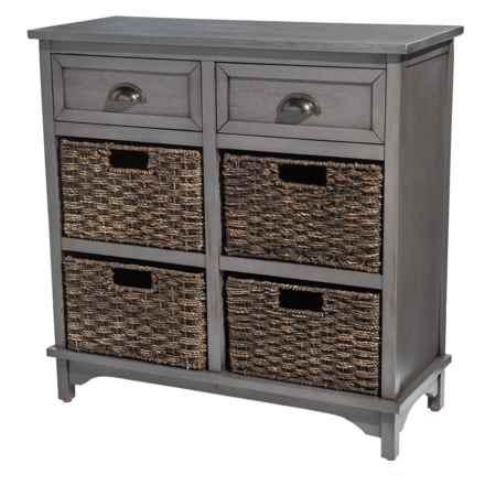 "J Hunt Greywash Acacia 6-Drawer Wood Storage Chest - 28x12x28"" in Grey - Closeouts"