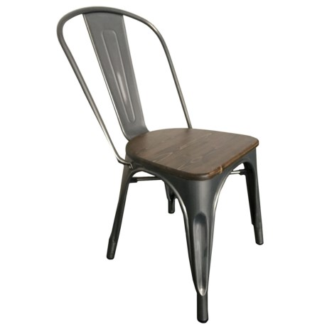 J Hunt Metal And Wood Industrial Accent Chair In Gray