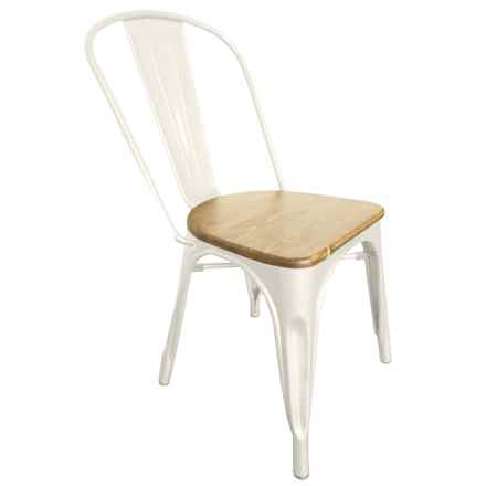 J Hunt Metal and Wood Industrial Accent Chair in Ivory - Closeouts
