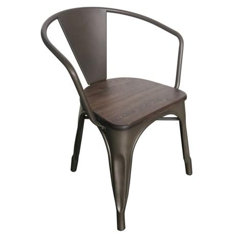 J Hunt Metal And Wood Industrial Armchair In Rustic
