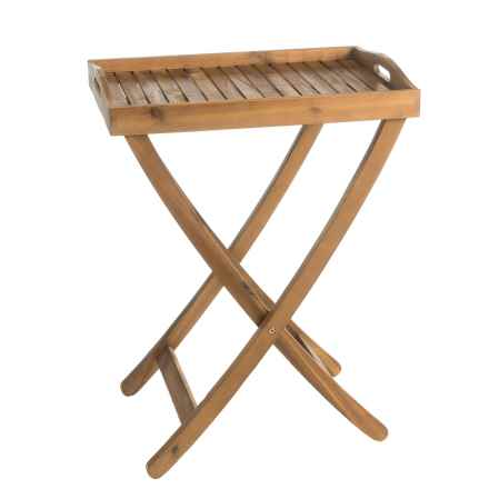 """J Hunt Natural Acacia Serving Tray Table with Handles - 22x15x28"""" in Natural - Closeouts"""