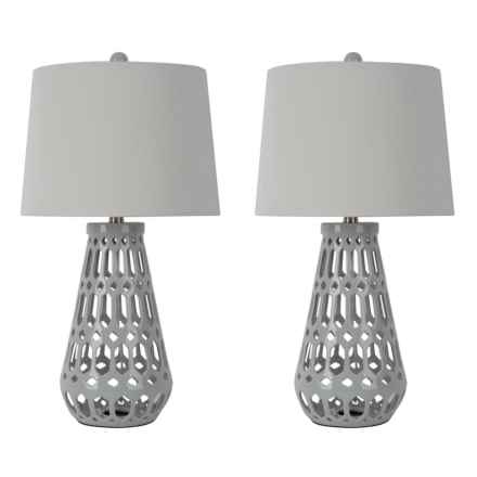 "J Hunt Open Geometric Ceramic Table Lamps - 25.5"", Set of 2 in Grey - Closeouts"