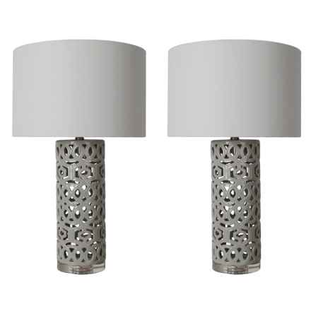 """J Hunt Open Geometric Ceramic Table Lamps - 28"""", Set of 2 in White/Gray - Closeouts"""
