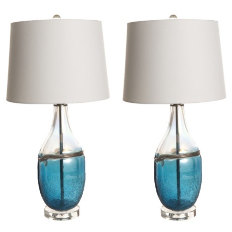 "J Hunt Set of 2 Art Glass Table Lamps - 27.5"" in Black"