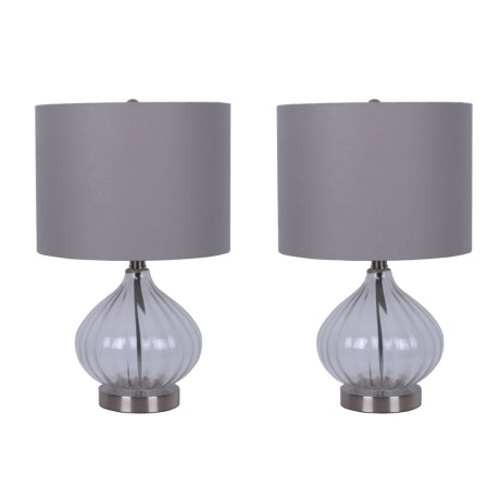 """J Hunt Set of 2 Brushed Steel and Glass Accent Table Lamps - 19.5"""" in Grey"""