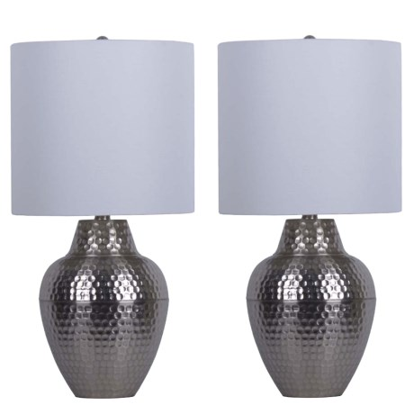 """J Hunt Set of 2 Brushed Steel Hammered Cone Table Lamps - 23.5"""" in Silver/White"""