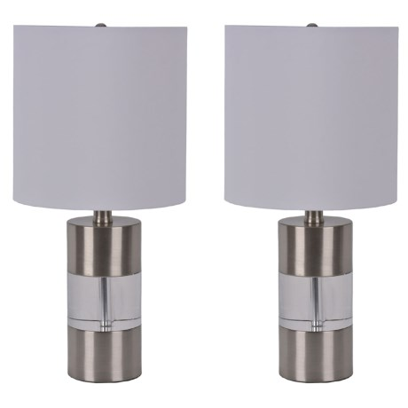 """J Hunt Set of 2 Cylinder Table Lamp - 21"""" in Clear"""