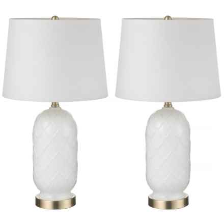 "J Hunt Set of 2 Embellished Quatrifoil Milk Glass Table Lamps - 23.5"" in White/White - Closeouts"