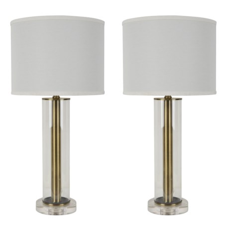"J Hunt Set of 2 Glass Crystal Table Lamps - 27.5"" in Clear"