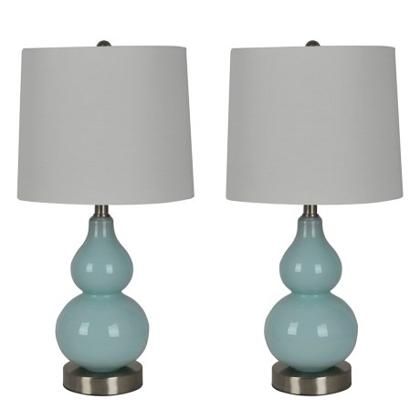 """J Hunt Set of 2 Glass Gourd and Brushed Steel Metal Base Lamps - 21.5"""" in Blue/White"""