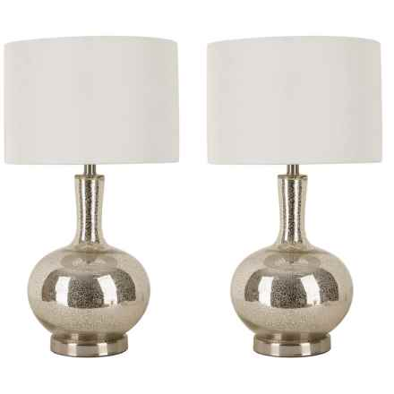 "J Hunt Set of 2 Gourd Table Lamps - 26"" in Silver - Closeouts"