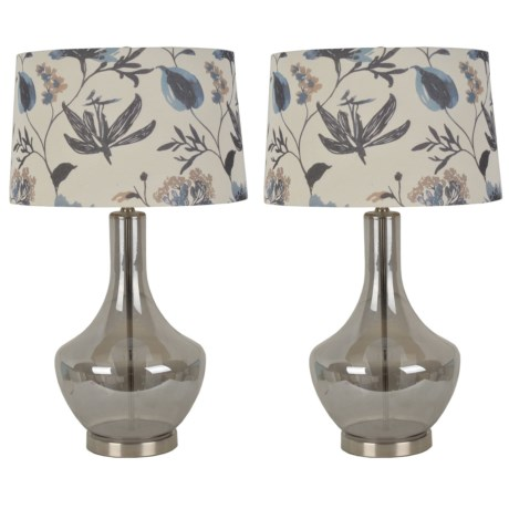 """J Hunt Set of 2 Luster Glass Table Lamps with Floral Shade - 30"""" in Grey"""