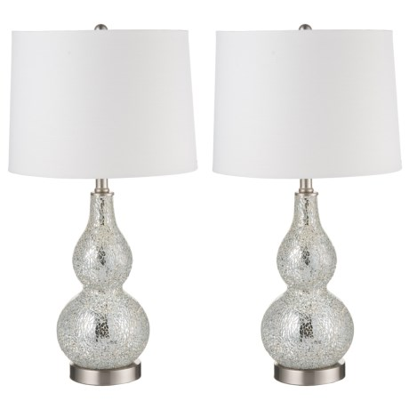 """J Hunt Set of 2 Mirrored Glass Mosaic Gourd Table Lamps - 24.25"""" in Silver/White"""