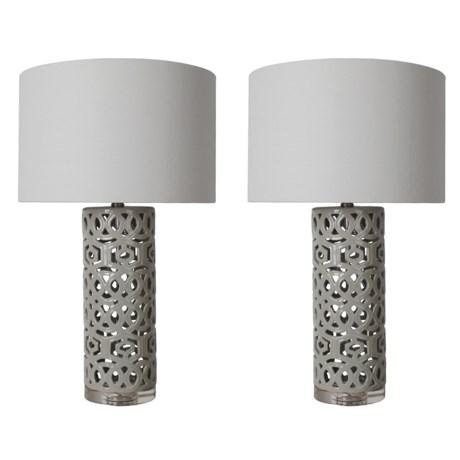 "J Hunt Set of 2 Open Geometric Ceramic Table Lamps - 28"" in White/Gray"