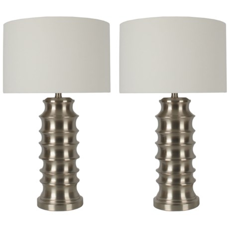 "J Hunt Set of 2 Ribbed Metal Lamp with Shade - 28"" in Brushed Steel"
