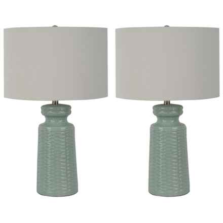 "J Hunt Set of 2 Spa Embossed Table Lamps - 28"" in Spa Blue - Closeouts"