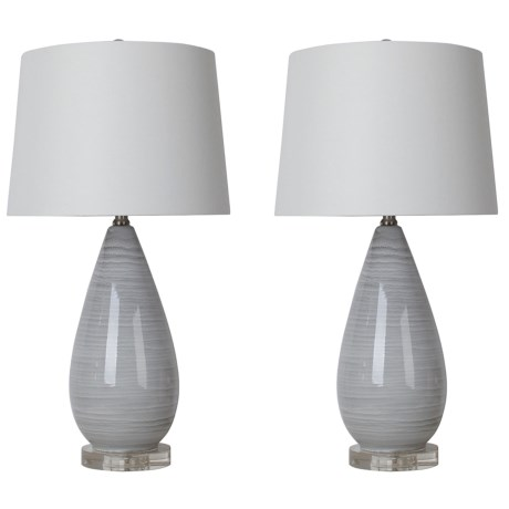 """J Hunt Set of 2 Striped Table Lamps - 26.5"""" in Grey/White"""