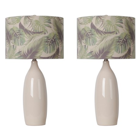 "J Hunt Set of 2 Table Lamps with Printed Shade - 28"" in Cream"