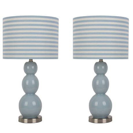 "J Hunt Set of 2 Tri-Tier Glass and Metal Table Lamps - 26.5"" in Blue/White/Blue"