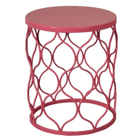 J Hunt Small Pink Metal Garden Stool 13x16 5 In
