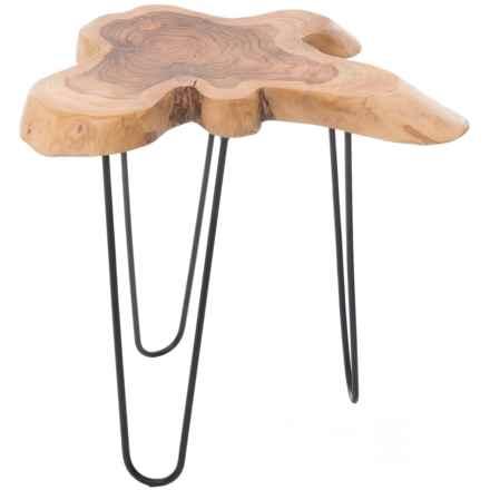 J Hunt Teak Root Side Table in Dark Teak - Closeouts