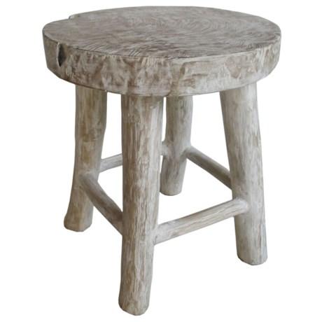 "J Hunt Washed Teak Wood Stool - 14x14x16.5"" in White"