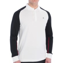 J. Lindeberg Zachary Tech Mesh Polo Shirt - Regular Fit, Long Sleeve (For Men) in White - Closeouts