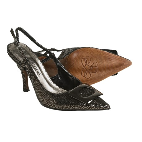 J. Renee Burma Sling-Back Pumps - Leather (For Women) in Pewter